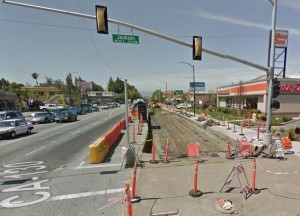 Bus Rapid Transit build at Alum Rock/Jackson in May 2015. Courtesy Google Maps
