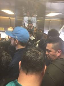 Crowded Caltrain car. Courtesy @Caltrain_News