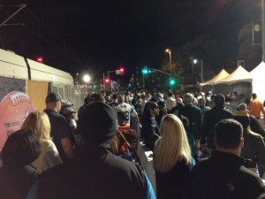 Super Bowl 50 crowd goes to VTA light rail after the game has ended.