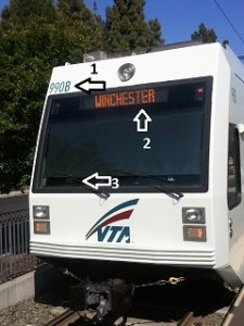 Front of VTA light rail train in Mountain View