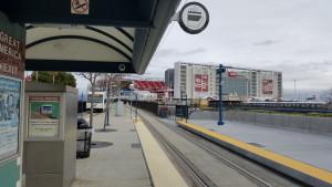 VTA light rail car passing Levi's Stadium