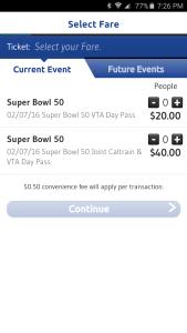 VTA EventTik App screenshot featuring Super Bowl day pass prices.