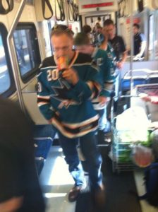 Sharks fans on VTA light rail. Photo courtesy @execlaw on Twitter