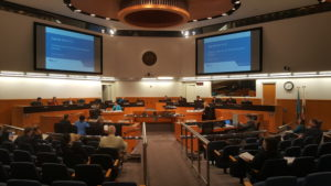 Inside the Santa Clara County Supervisors' chambers.