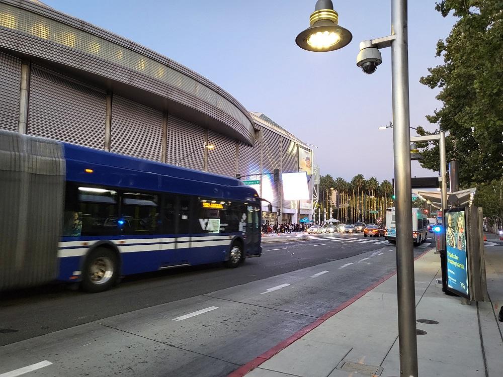 VTA bus passing SAP Center on W. Santa Clara St..